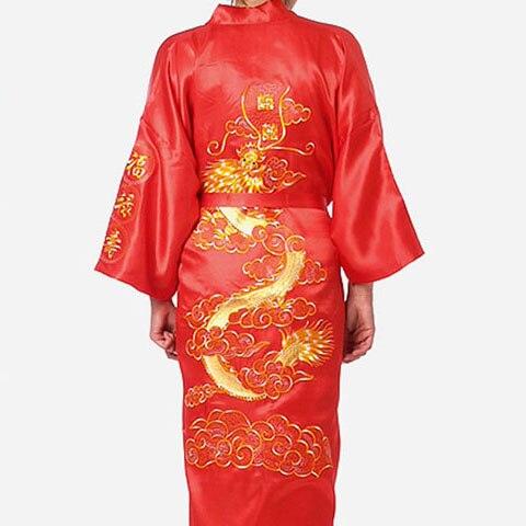 Большой размер 3XL халат для мужчин вышивка платье с драконами ночное белье мягкое атласное Lounge Ночная рубашка пижамы сексуальное свободное повседневное кимоно платье
