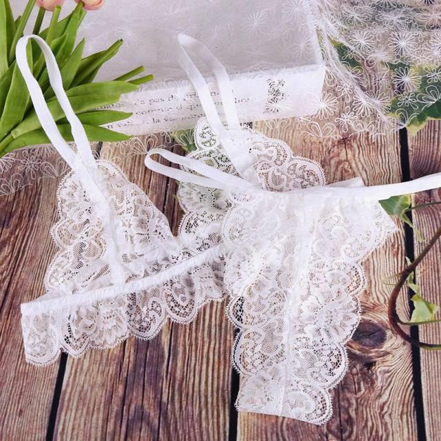 Women Underwear Sexy Lingerie Lace Bralette Bra And Panty Set Femme Crop Top G-string Transparent Brassiere Party See Through 5