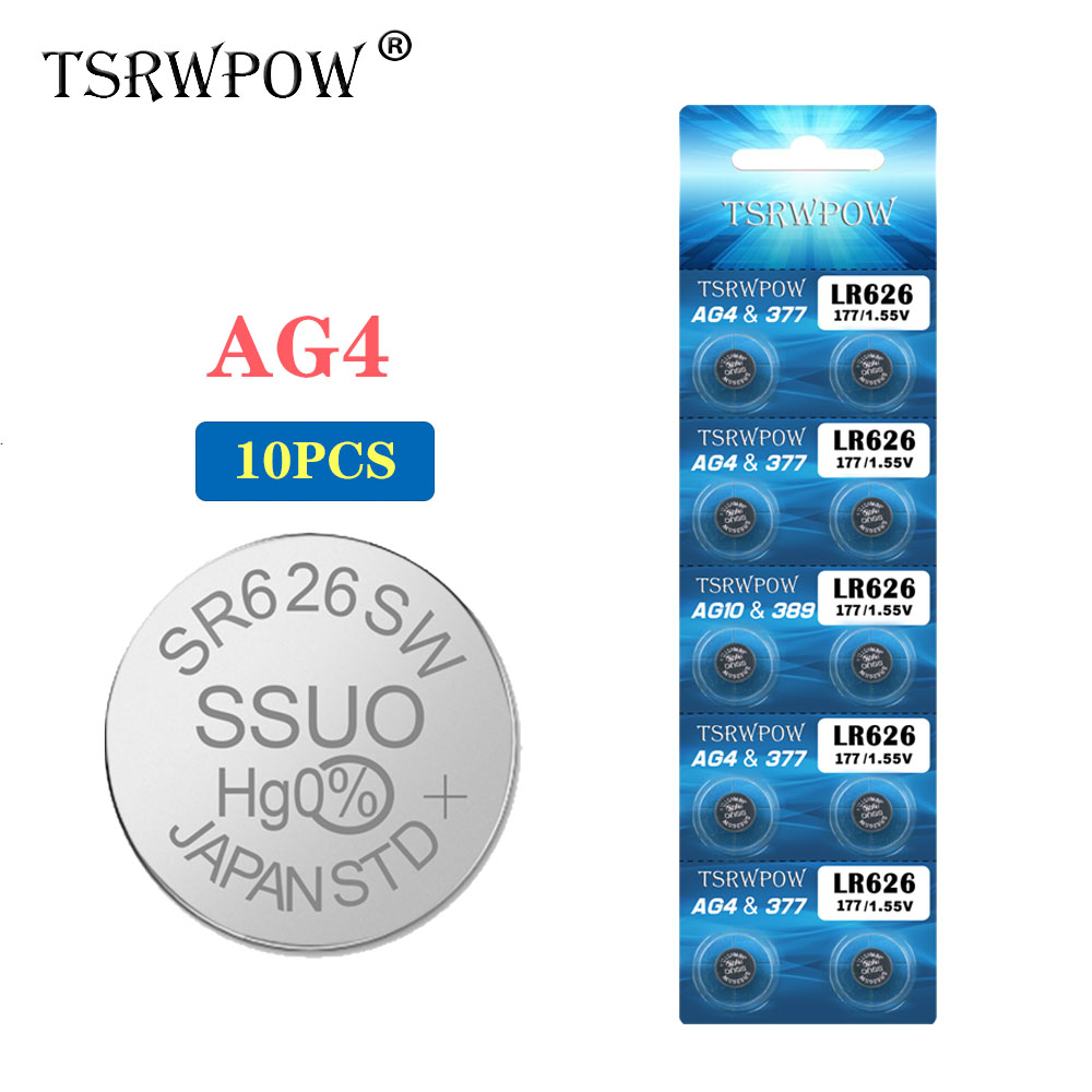 TSRWPOW 10PCS/PACK AG4 1.55V LR626 SR626SW 177 SR626 V377 Button Cell Coin Battery Batteries For Watch Toys Electronic Remote