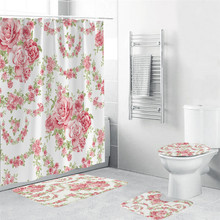 High Quality Different Custom Waterproof Bathroom Beautiful Flower Pattern Shower Curtain Polyester Fabric
