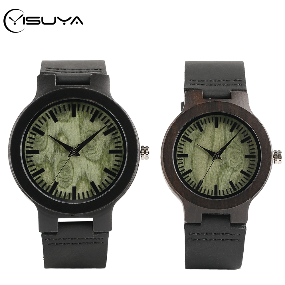 YISUYA Green Round Dial Men's Watch Luxury Ebony Wood Quartz Wristwatch Handmade Female Hour Clock Valentine Gifts For Men Women