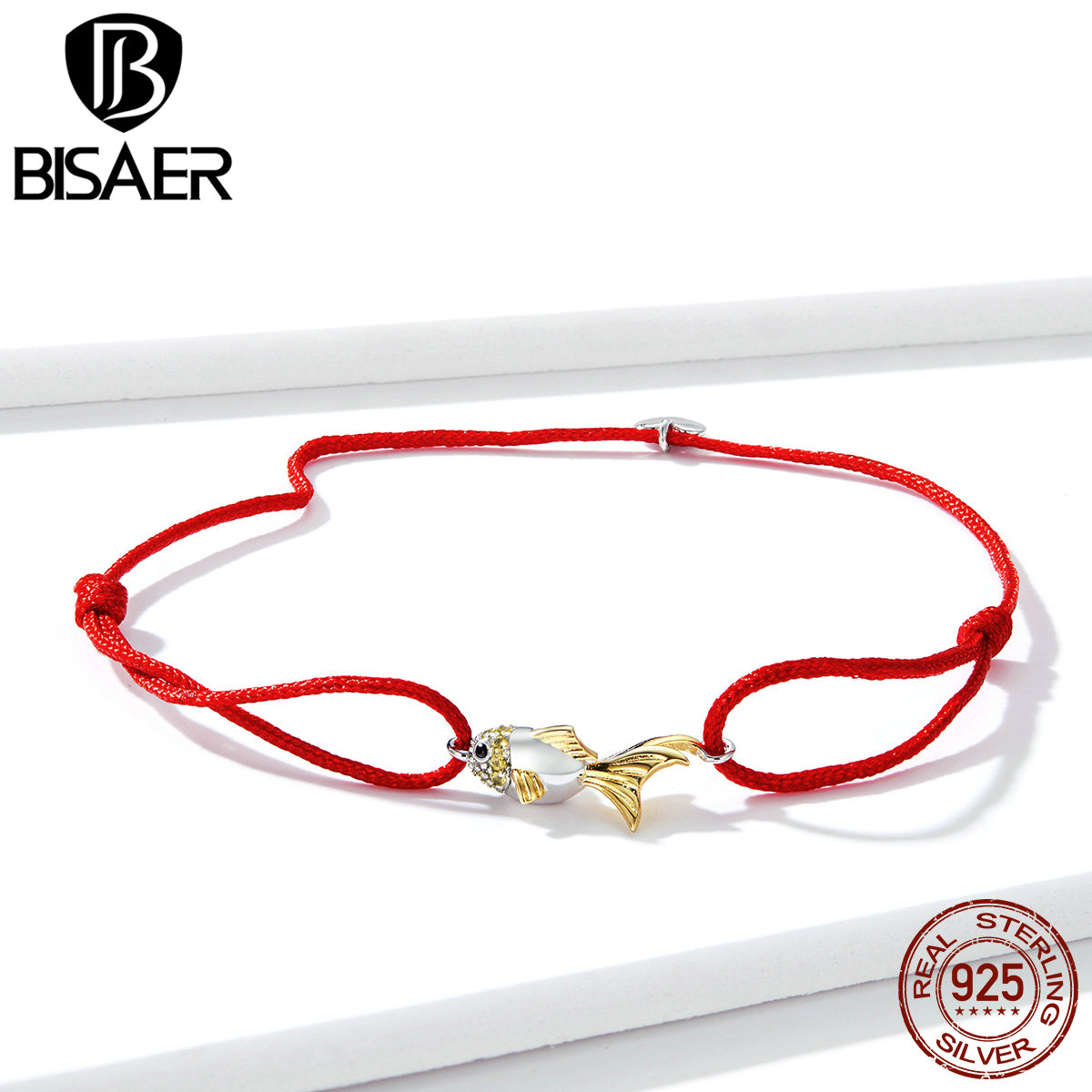 BISAER Lucky Goldfish Bracelets 925 Sterling Silver 19cm Adjustable Red Rope Wrist Chain Link Bracelet For Female Jewelry EFB044