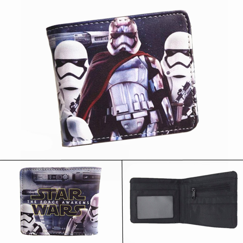 Star Wars Darth Vader Stormtrooper Wallet Leather Boys Girls Zip Coin PU Short Photo Card Holder Layers Cartoon Print Purse Gift