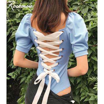 Rockmore Criss Cross Bandage Tie Up Women Bodysuits Lantern Sleeve Hollow Out Streetwear Body Sexy Backless Bodies Jumpsuits criss cross sleeve crop tee