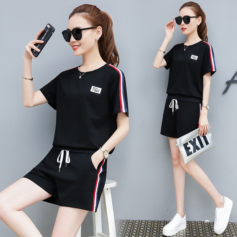 With Cotton 2019 Summer Wear New Style WOMEN'S Dress Fashion Short Sleeve Casual Sports Clothing Set Two-Piece Set Korean-style