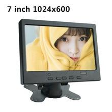 7 cal Mini przenośny 1024x600 monitora TFT LCD CCTV monitor komputerowy z AV VGA wejście HDMI wbudowany głośnik i wtyczka słuchawkowa