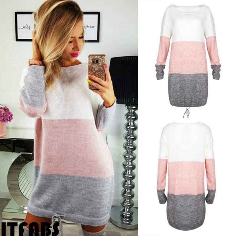 New 2019 Autumn Winter Women Long Sleeve Knit Cardigan Jumper Dress Tops Loose Casual Sweater Dress