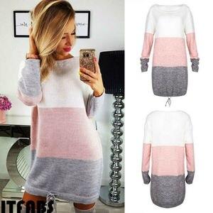 New 2019 Autumn Winter Women Long Sleeve Knit Cardigan Jumper Dress Tops Loose Casual Sweater Dress(China)