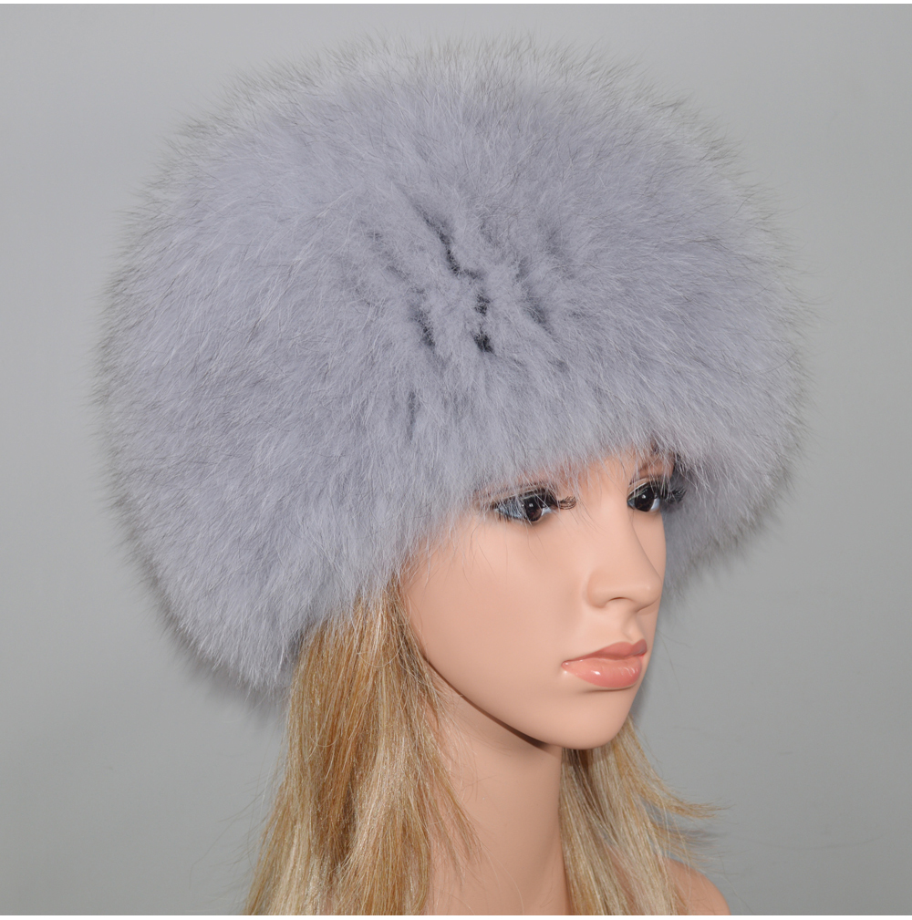 H9148fd6adbc143b1b8a82d44e4009ccdo - New Luxury 100% Natural Real Fox Fur Hat Women Winter Knitted Real Fox Fur Bomber Cap Girls Warm Soft Fox Fur Beanies Hats