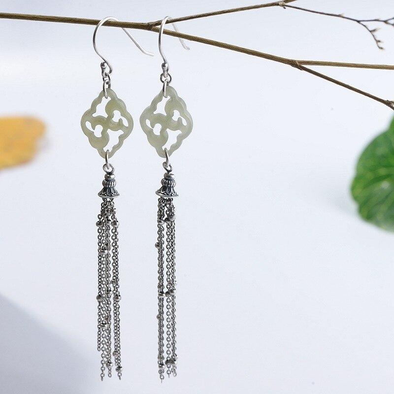 FNJ Hetian Jade boucles d'oreilles 925 argent Original pur S925 en argent Sterling gland chaîne goutte boucle d'oreille pour les femmes bijoux