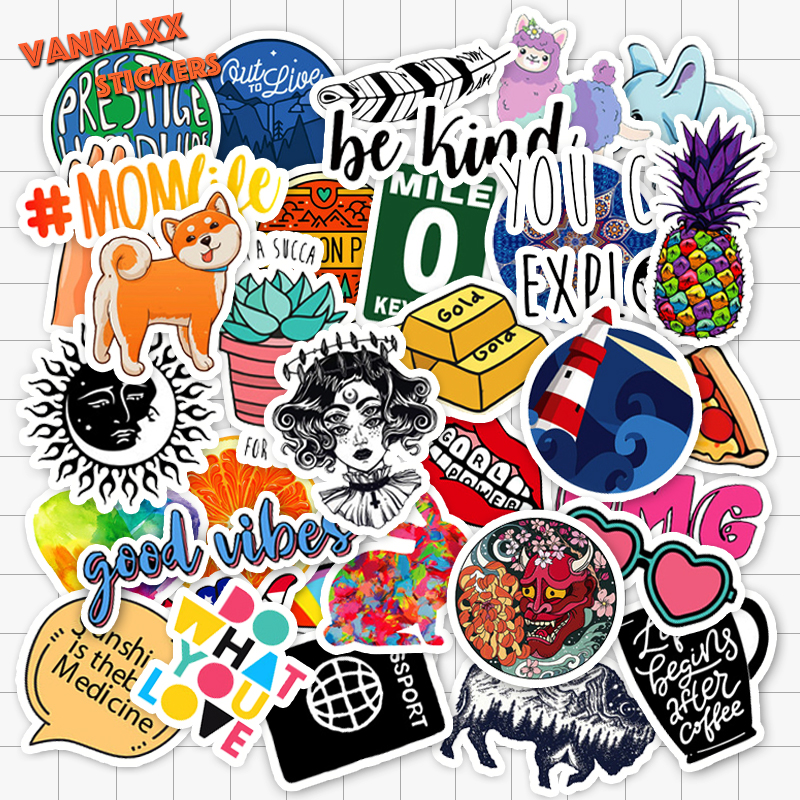 VANMAXX 40 PCS Larger Size INS Style Redbubble Stickers Waterproof PVC Decal Sticker Bomb Laptop Guitar Helmet Bicycle Luggage