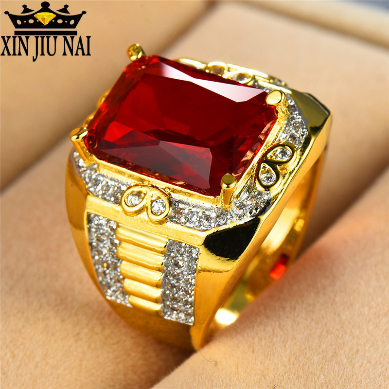 Gorgeous Male Big Red Stone s925 Ring Fashion 18KT Yellow Gold Filled Vintage Wedding Engagement Rings For Men gifts for men image