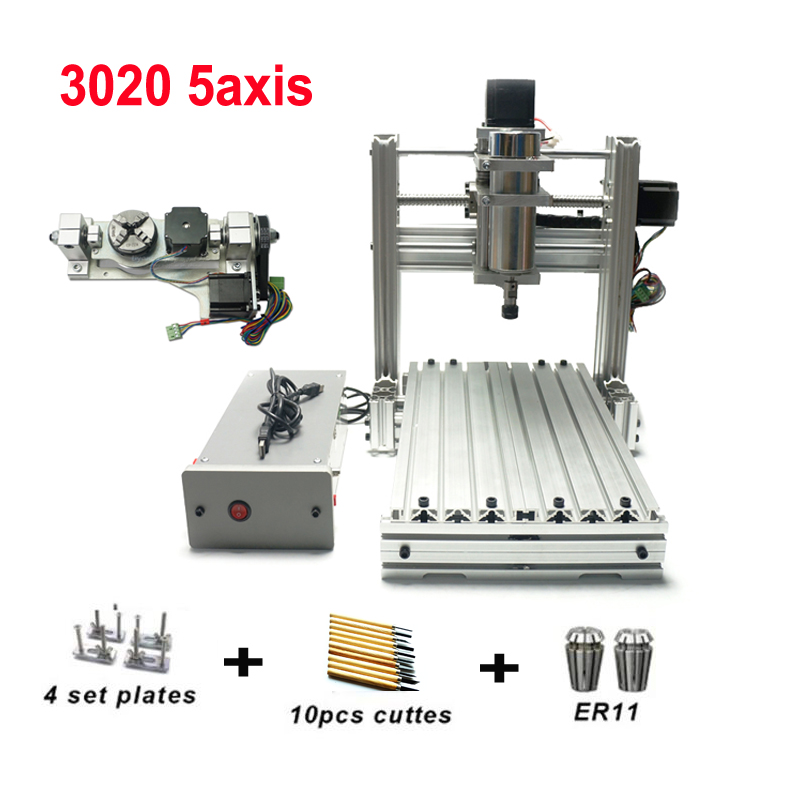 DIY LY CNC Router 3020 3 4 5 Axis Wood Engraving Machine Milling Lathe Metal Router 400w USB With ER11 Collet Drills Cutters