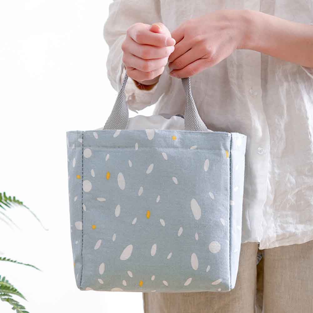 Lunch Bag Insulated Cooler Drawstring Printed Tote Bento Box Portable Working Students Travel Food Storage Picnic Adults Outdoor