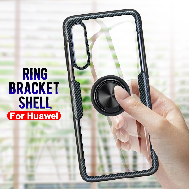 Ring Shockproof Soft Phone Case On For Huawei P20 P30 Mate 20 Lite Pro Transparent Back Cover For Huawei Mate 20 P30 P20 Shell