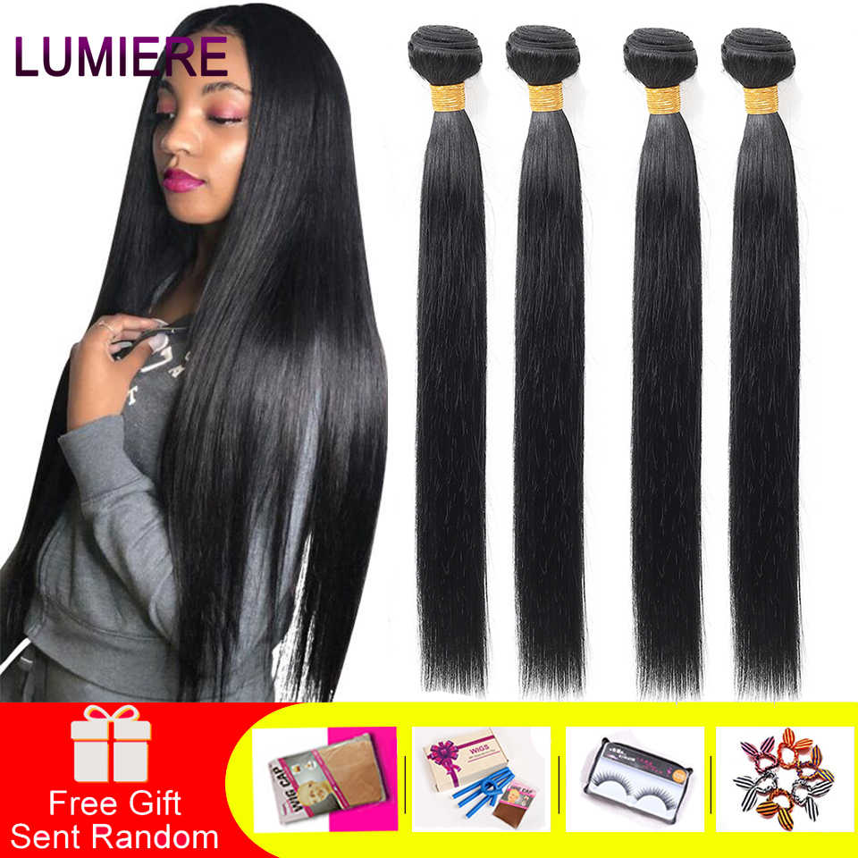 "Lumiere Hair Peruvian Straight Hair Weave Bundles Medium Ration Non-Remy Human Hair 4 Bundles Weave ""8-28"" Inches Color 1B"