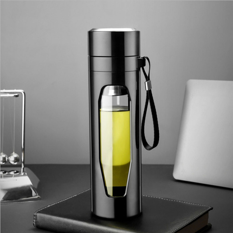 580ml Glass Tea Cup Double Walled Glass Water Bottle with Stainless Steel Tea Infuser Filter anti fall glass Water Bottle|Water Bottles|   - AliExpress