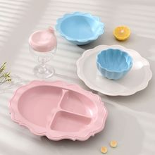 Toddler Infant Baby Dinner Bowl Dishes Bamboo Fiber Separated Child Food Plates Kids Dinnerware Tableware Tray
