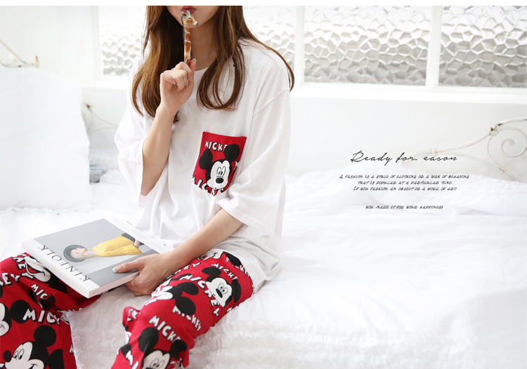 2019 Fashion Lovely Leisure Two Piece Set Mickey Printing Indoor Clothing Home Suit Sleepwear Winter Pajamas Woman Pijama Mujer 41