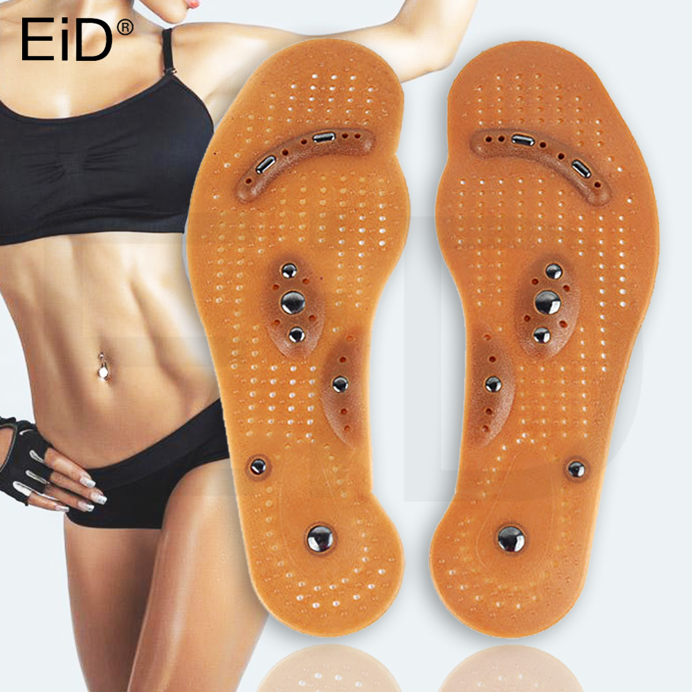 Silicone Magnetic Insoles Slimming Therapy For Weight Loss Massage Foot Care Shoes Mat Pad Brown Insole Wholesale Sole Man Women