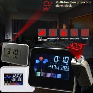 Image 1 - 1 adet yeni projeksiyon çalar saat ile hava istasyonu termometre tarih ekran USB şarj aleti erteleme LED projeksiyon dijital saat