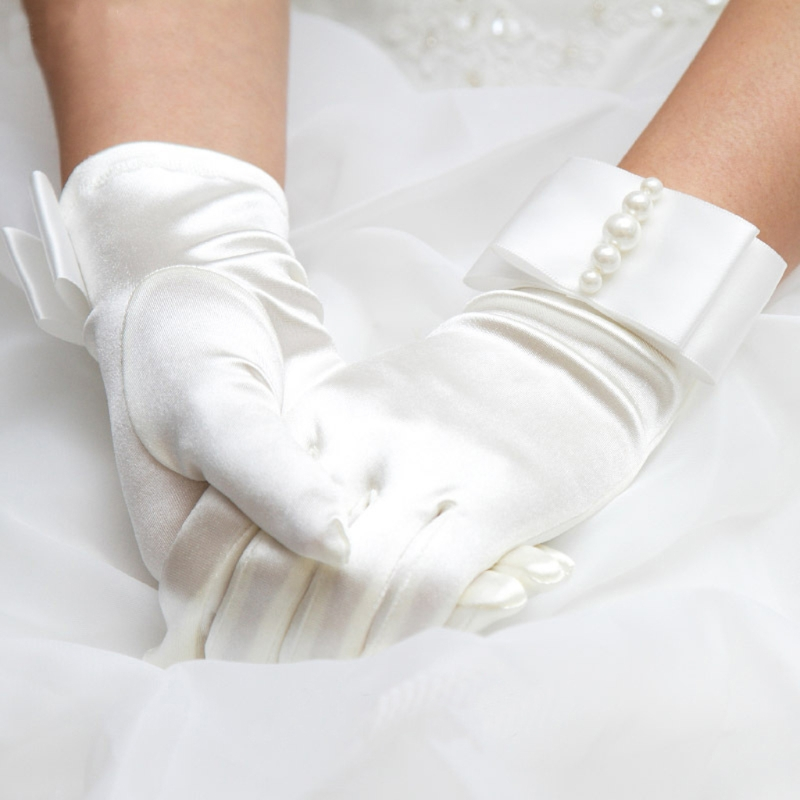 New Short Full Fingers Faux Pearl Beaded Womens Bridal Wedding Gloves With Bow Satin Bride Gloves Hot Sale