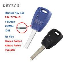 Chave remota de carro keyecu, chave 1 botão 433mhz com chip id48 para fiat doblo albea palio punto 2005 2006 2007 2008 p/n: 71744151