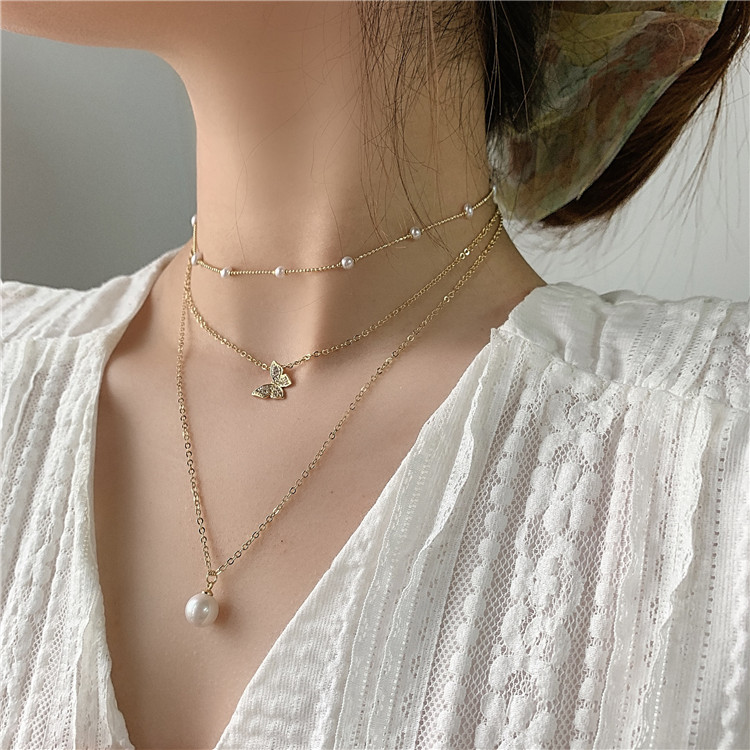 New Design Fashion Jewelry Multi-layer Necklace Exquisite Copper Inlaid Zircon Butterfly Pearl Pendant Elegant Female Necklace