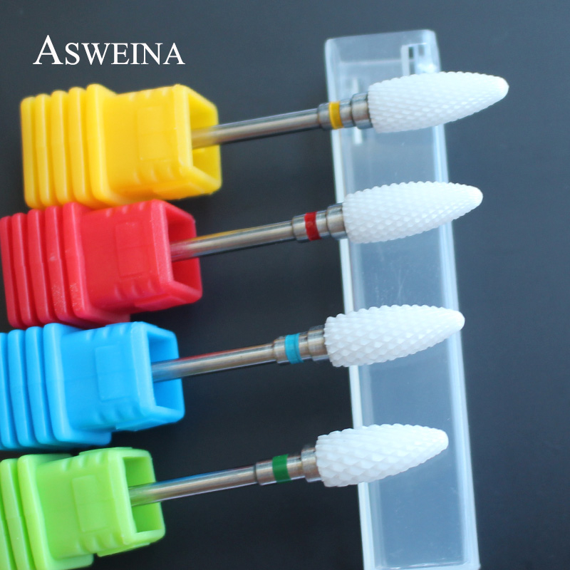 ASWEINA Ceramic Straight Tip Nail Art Drill Bit Milling Cutter For Nail Electric Drill Manicure Machine Device Accessory