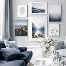 Современный пейзаж Голубое озеро поверхность холст картина стены