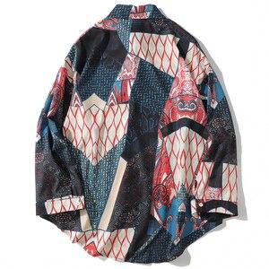 Image 2 - Aelfric Eden Herfst Japanse Ukiyo Geometrische Patchwork Lange Mouw Shirts 2018 Hip Hop Casual Streetwear Mannen Vrouwen Shirt Kj169