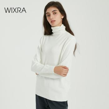 Wixra femmes doux solide tricoté t-shirts dames à manches longues décontracté col roulé basique pull t-shirt automne hiver classique hauts