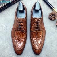 QYFCIOUFU Mens Formal Shoes Genuine Leather Oxford Shoes For Men 2019 Wedding Men's Brogues Office Shoes Male Crocodile Shoes