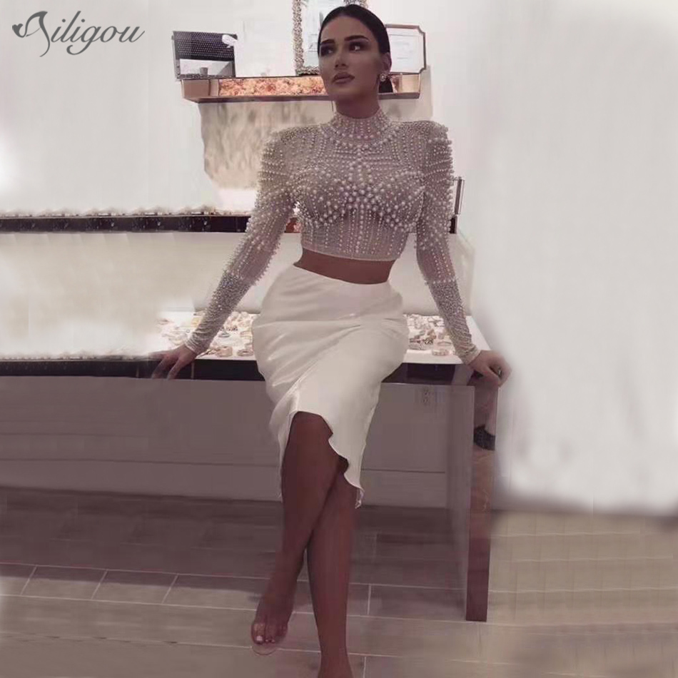 Ailigou 2020 New Summer Women's 2-Piece Two-piece Mesh Beaded Top + Pencil Skirt Female Bandage Sexy Celebrity Party Set