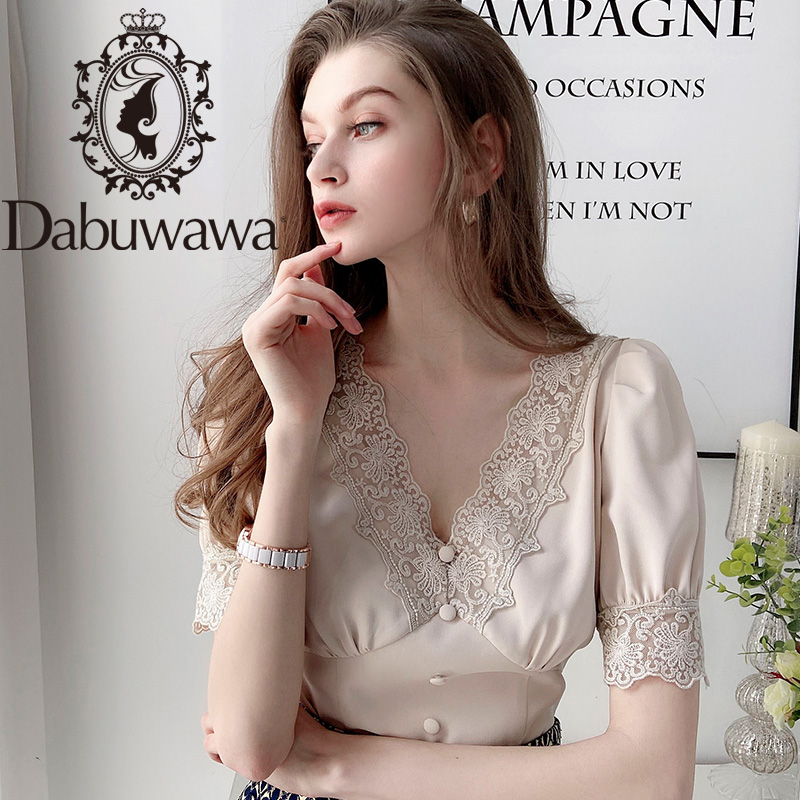 Dabuwawa Elegant Lace Deep V-Neck Blouse Women Casual Solid Puff Sleeve Chiffon Blouses Shirts Tops Office Lady DT1BCF006