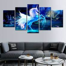 5 piece canvas art Modern Cartoon Unicorn Posters Prints Forest Picture Animal Painting Wall Art for Living Room Home decoration