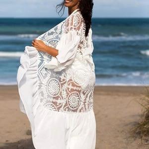 Image 5 - Ropa de playa blanca de malla 2020 para mujer, kimono con volantes, traje de baño para cubrirse, Vestido largo de playa, trajes de baño de verano, bañadores, novedad