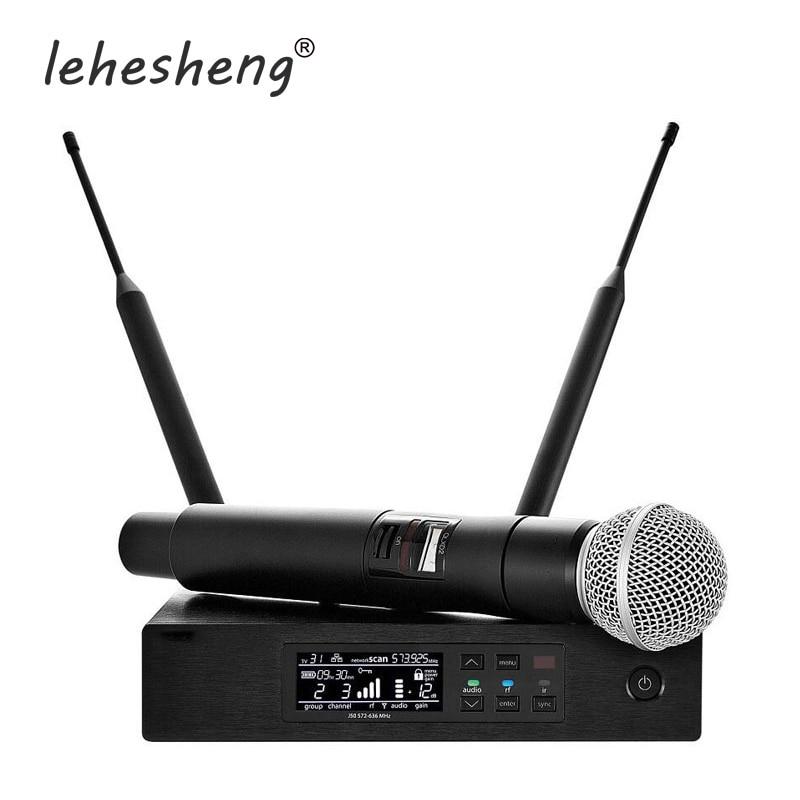 Professional UHF Microphone QLXD24 Digital Wireless System True Diversity QLXD4 Handheld Bodypack Headset Mic 3 Pin Karaoke Mic