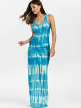 Women Bohemian Tie-Dye Print Racerback Long Tank Maxi Dress(China)