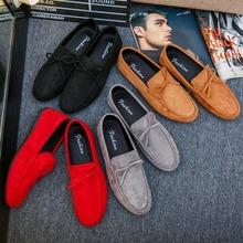 Wygodne płaskie buty męskie męskie wkładane mokasyny mokasyny do jazdy Homme męskie obuwie moda obuwie ślubne tanie tanio OLOMM Sztuczny zamsz RUBBER Slip-on Pasuje prawda na wymiar weź swój normalny rozmiar Stałe Oddychające Masaż Wodoodporna