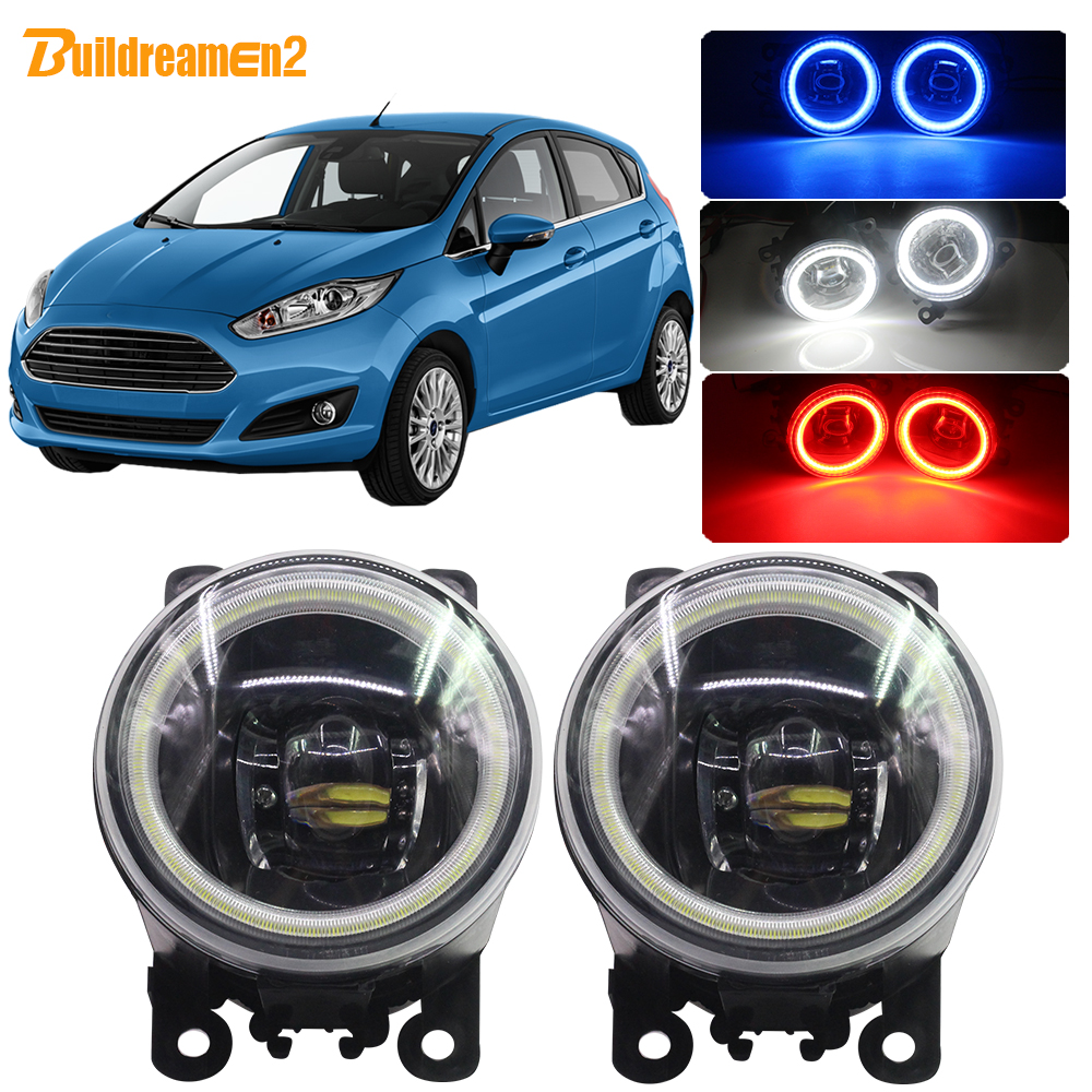 Buildreamen2 Car Styling H11 4000LM LED Bulb Front Fog Light Angel Eye DRL Daytime Running Light 12V For Ford Fiesta 2001-2015(China)