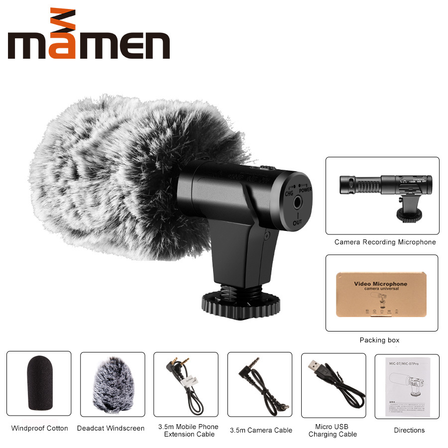 MAMEN Super 3 5mm Camera Microphone VLOG Photography Interview Digital HD Video Recording Microphone for Smartphone and Camera