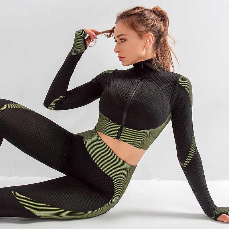 シームレスワークアウト yoga セット女性スポーツジムスーツ着用ランニング服女性フィットネススポーツ yoga スーツ長袖 yoga 服