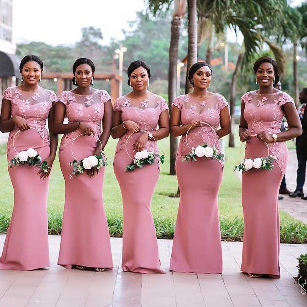 South African Nigeria Pink Mermaid Bridesmaids Dresses Plus Size Sheer Neck Lace Appliques Floor Length Wedding Guest Dress