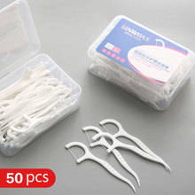 High tensile dental floss stick portable dental care flossing tooth gap cleaner bow toothpick flat wire  50pcs a lot