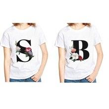 Camiseta con estampado de flores del alfabeto Harajuku Amigos Coreanos camisa padre-hijo cómoda camiseta Ins mujeres superior Casual Camiseta de cuello redondo
