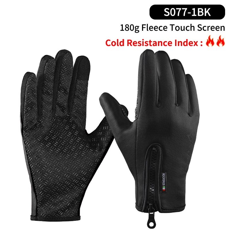 RockBros Winter Long Full Finger Fleece Thermal Cycling Gloves Windproof Gloves