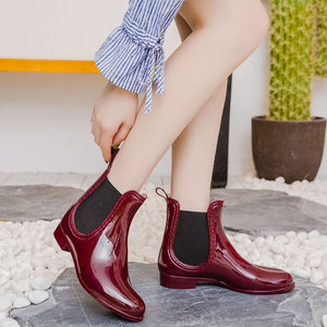Image 4 - Rubber Boots for Women PVC Ankle Rain Boots Waterproof Trendy Jelly Women Boot Elastic Band Rainy Shoes Woman botas mujer