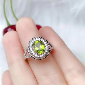 Restoring Luxurious  Sun flower round Natural green peridot Ring Natural olivine ring S925 silver women girl party gift Jewelry