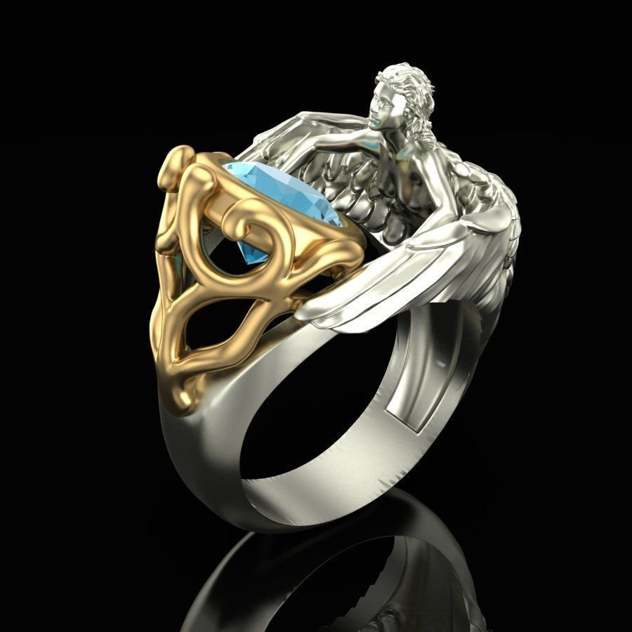 S925 Sliver Color Ring For Women Navy Blue Topaz Angel Wings Jewelry Gemstone Fashion Human Style Silver 925 Jewelry Ring Box